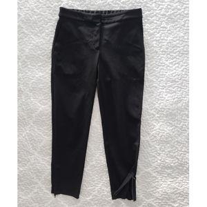 THEORY black ponte knit ankle zip crop pants